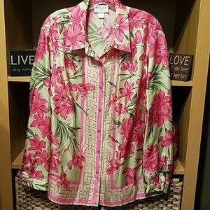 Oscar de la Renta silk print blouse